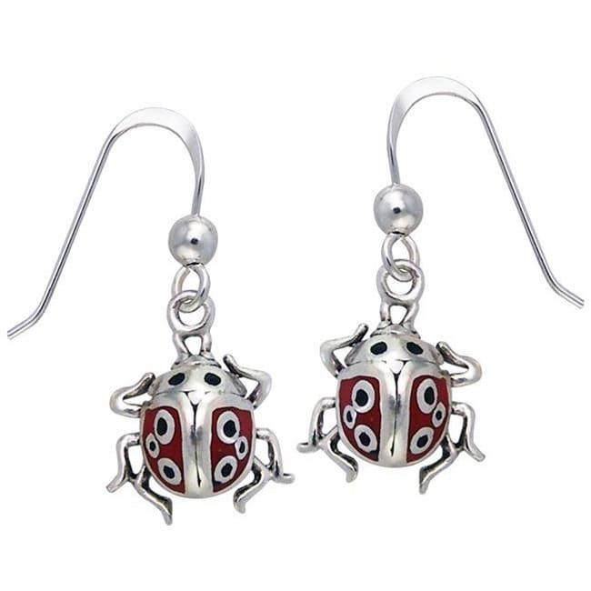 CGC Sterling Silver Lucky Ladybug Enamel Earrings