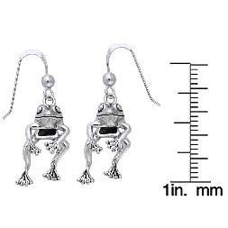 Carolina Glamour Collection Sterling Silver 'Fabulous Frog' Swinging Earrings