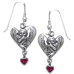 CGC Sterling Silver Winged Cherub Heart Garnet Earrings
