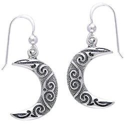 CGC Sterling Silver Spiral Moon Celtic Earrings