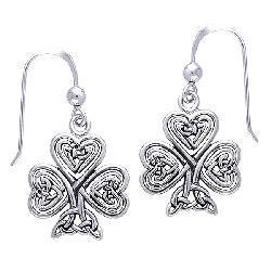 CGC Sterling Silver Celtic Shamrock of Faith Earrings