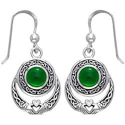 CGC Sterling Silver Celtic Claddagh Created Emerald Earrings