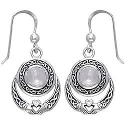 CGC Sterling Silver Celtic Claddagh Moonstone Earrings