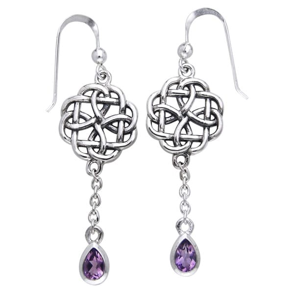 CGC Sterling Silver Celtic Amethyst Dangle Chain Earrings