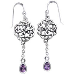CGC Sterling Silver Celtic Amethyst Dangle Chain Earrings