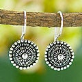 Sterling Silver 'Beaded' Circle Earrings (Indonesia)