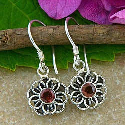 Sterling Silver Garnet Flower Earrings (Indonesia)