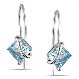 Miadora 10k White Gold Blue Topaz Earrings with Bonus Earrings