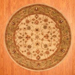 Indo Beige/Green Wool Rug (6' Round)