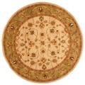 Herat Oriental Indo Hand-tufted Mahal Beige/Green Wool Rug (6' Round)