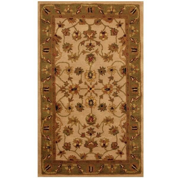 Herat Oriental Indo Hand-tufted Mahal Beige/ Green Wool Rug (3'3 x 5'3)