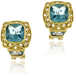 Icz Stonez 18k Gold over Sterling Silver Caribbean Mist Topaz Earrings