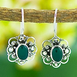Silver Green Agate Floral Earrings (Indonesia)