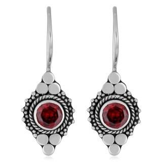 Sterling Silver Ornate Garnet Earrings (Indonesia)