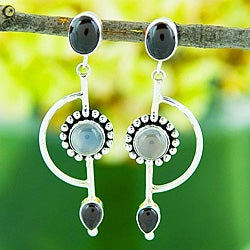 Silver Garnet and Moonstone Long Earrings (Indonesia)