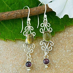 Sterling Silver Citrine and Garnet Dangle Earrings (Indonesia)