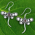 Sterling Silver Garnet 'Dragonfly' Earrings (Indonesia)