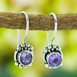 Sterling Silver Amethyst Stud Earrings (Indonesia)