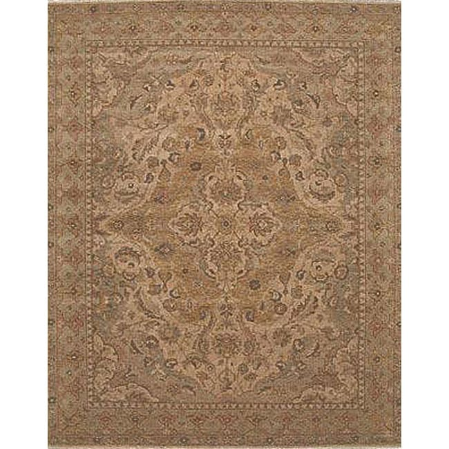 Nourison Hand-Knotted Ancestry Beige Traditional Wool Rug (3'9 x 5'9)