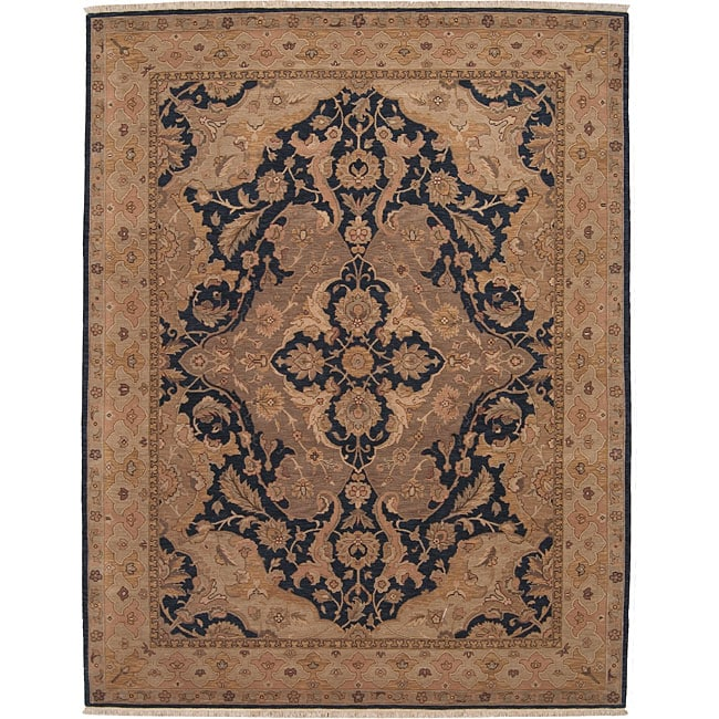 Nourison Hand-knotted Ancestry Midnight Wool Rug (7'9 x 9'9)