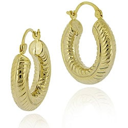 Mondevio 18k Gold/ Over Sterling Silver Rope Design Hoop Earrings