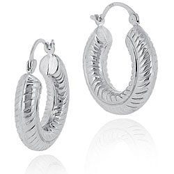 Mondevio Sterling Silver Rope Design Hoop Earrings