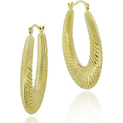 Mondevio 18k Gold/ Sterling Silver Shrimp Design Hoop Earrings