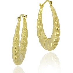 Mondevio 18k Gold/ Sterling Silver Oval Hoop Earrings