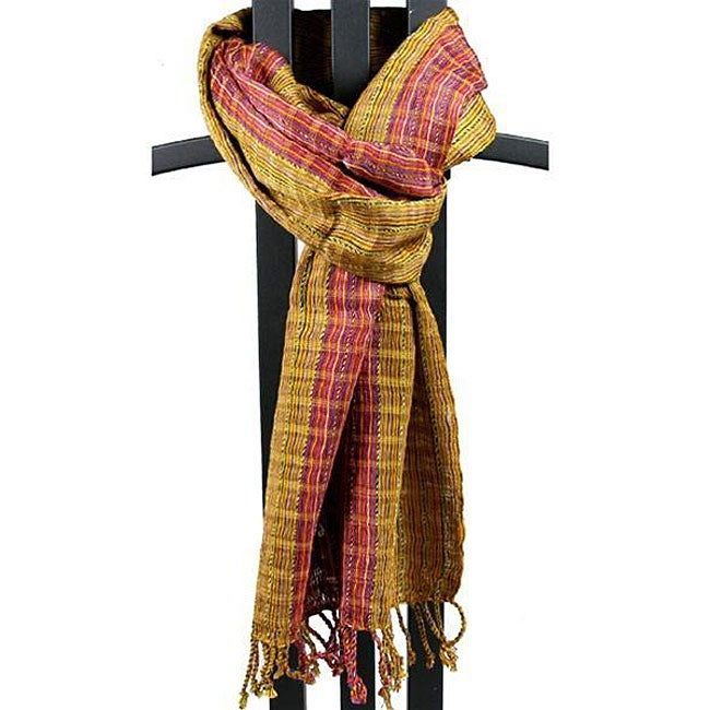Handwoven San Antonio Gold Scarf with Red Accents (Guatemala)