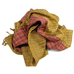 San Antonio Gold Handwoven Scarf with Red Accents (Guatemala)