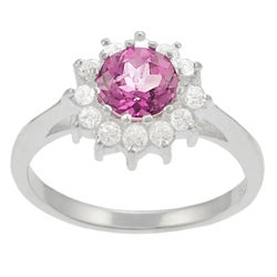 Tressa Sterling Silver Created Pink Topaz and CZ Accent Ring