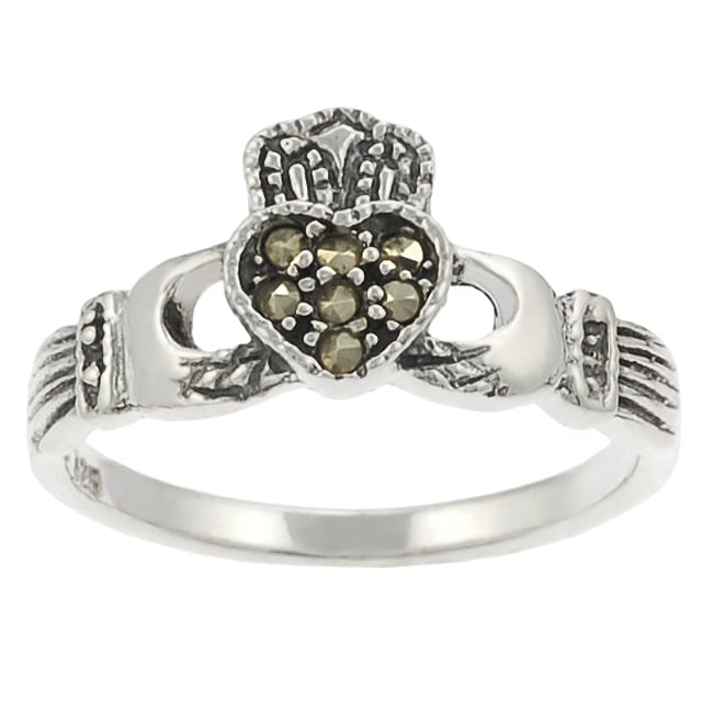 Journee Collection Sterling Silver Created Marcasite Claddagh Ring