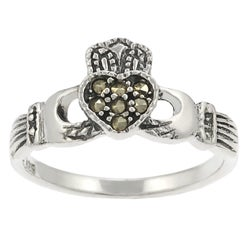 Tressa Sterling Silver Created Marcasite Claddagh Ring