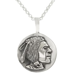 Journee Sterling Silver Indian Head Necklace
