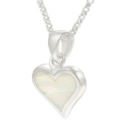 Tressa Sterling Silver White Opal Heart Necklace
