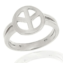 Mondevio Sterling Silver Peace Sign Ring