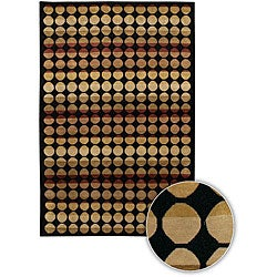Hand-knotted Gold/ Black Circles Rug (7'9 x 10'6)