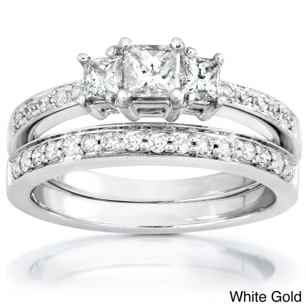 Annello 14k Gold 5/8ct TDW Princess Diamond Bridal Set (H-I, I1-I2)
