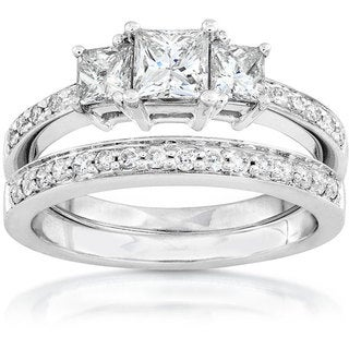 Annello 14k Gold 7/8ct TDW Princess Diamond Bridal Ring Set (H-I, I1-I2)