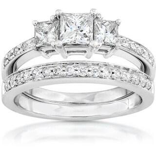 Annello 14k Gold 7/8ct TDW Princess Diamond Bridal Ring Set (H-I, I1-I2)