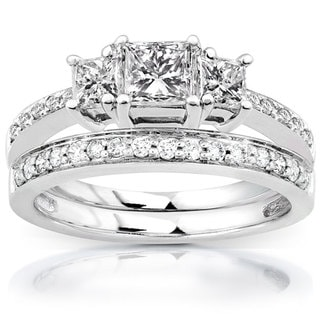 Annello 14k Gold 1 1/6ct TDW Princess Diamond Bridal Set (H-I, I1-I2)