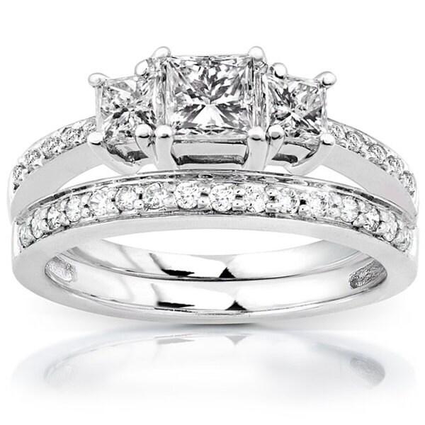 Annello 14k Gold 1 1/6ct TDW Princess Diamond Bridal Set (H-I, I1-I2)