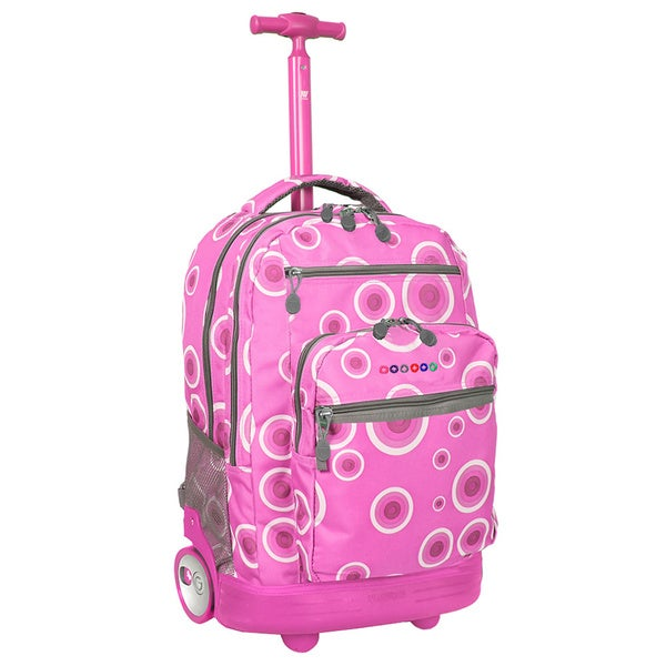 J World Sundace Pink Target Rolling 15-inch Laptop Backpack