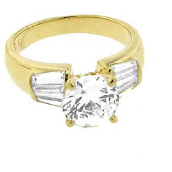 Goldplated Gold-Plated Sterling-Silver Cubic Zirconia Engagement-Style Ring