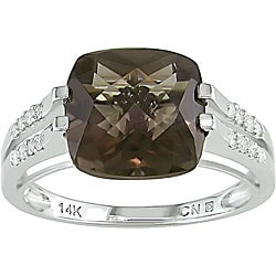 10k Gold Smokey Quartz and 1/8ct TDW Diamond Ring