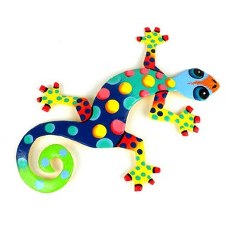 Recycled Oil Drum Painted Florida Design Gecko (Haiti)