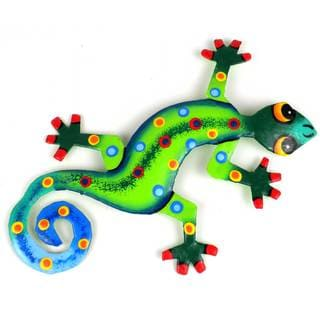 Metal 'Painted Jungle Design Gecko' Wall Art (Haiti)