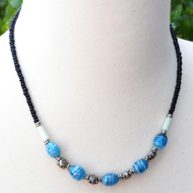 'Striped Beads' Beaded Necklace (Kenya)