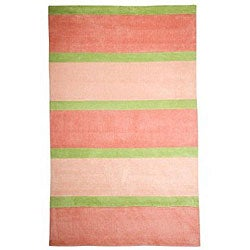 Stripes Rugby Pink Kids Rug (5' x 8')
