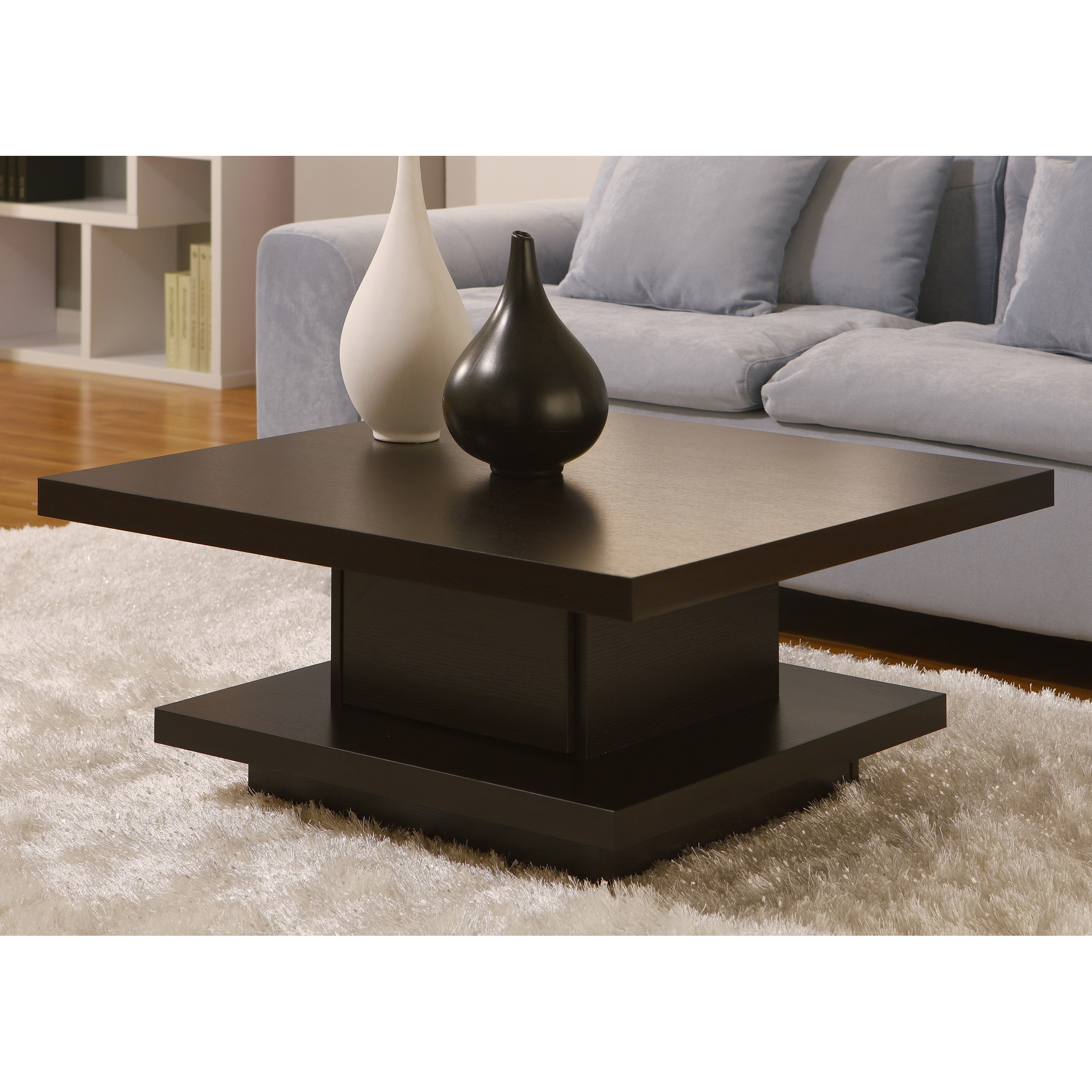 Unique Pagoda Coffee Table Veneer Wood Finish Coffee Bean Counter Top